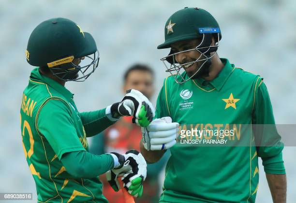 Pakistan batsmen Fahim Ashraf and Hasan Ali celebrate victory over Bangaldesh after the ICC Champions Trophy Warmup match between Pakistan and...