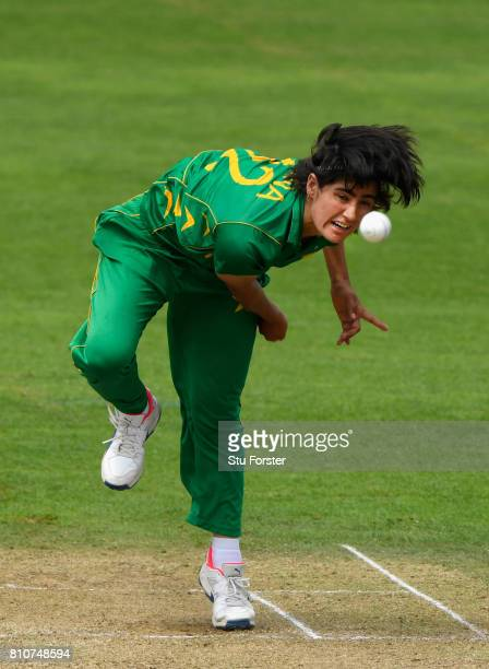 Pakistan bowler Diana Baig in action during the ICC Women's World Cup 2017 match between New Zealand and Pakistan at The Cooper Associates County...