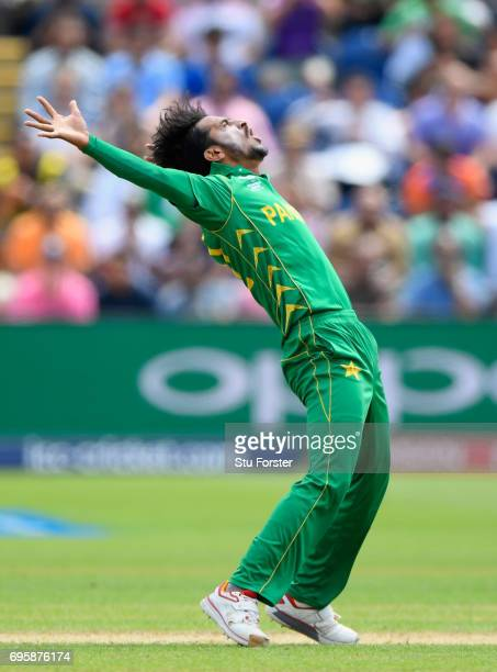 Pakistan bowler Hasan Ali celebrates after dismissing England batsman Eoin Morgan during the ICC Champions Trophy semi final between England and...