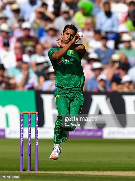 Pakistan bowler Hasan Ali in action during the 3rd One Day International between England and Pakistan at Trent Bridge on August 30 2016 in Nottingham...