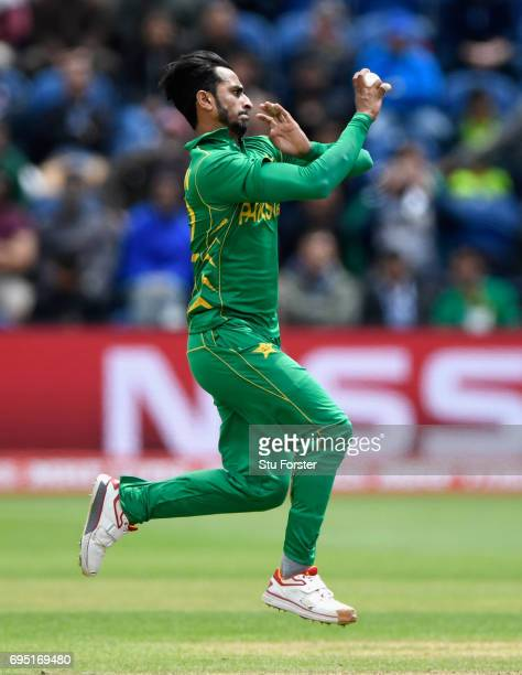 Pakistan bowler Hassan Ali in action during the ICC Champions League match between Sri Lanka and Pakistan at SWALEC Stadium on June 12 2017 in...