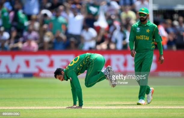 Pakistan bowler Junaid Khan celebrates after dismissing Moeen Ali during the ICC Champions Trophy semi final between England and Pakistan at SWALEC...
