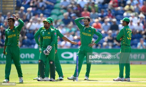 Pakistan bowler Junaid Khan reacts after a review against Bairstow is turned down during the ICC Champions Trophy semi final between England and...