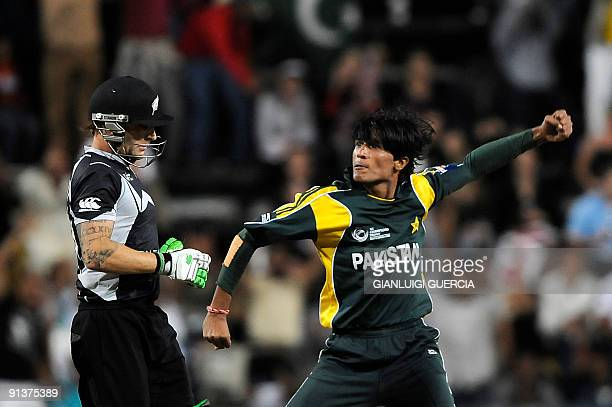 Pakistan bowler Mohammad Aamir celebrates after taking the wicket of New Zealand batsman Brendon McCullum on October 3 2009 during the ICC Champions...