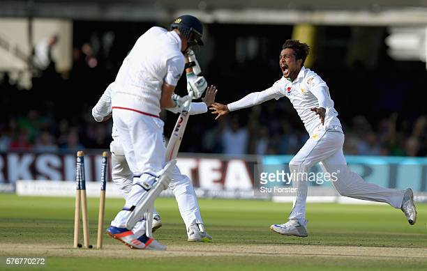 Pakistan bowler Mohammad Amir celebrates after bowling Jake Ball to win the match by 75 runs during day four of the 1st Investec Test match between...