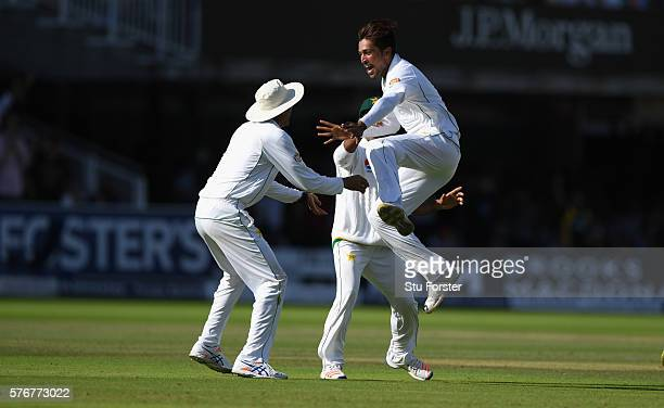 Pakistan bowler Mohammad Amir celebrates after bowling Stuart Broad during day four of the 1st Investec Test match between England and Pakistan at...