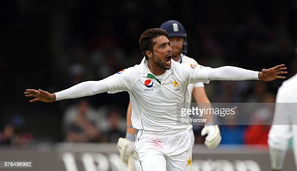 Pakistan bowler Mohammad Amir celebrates after dismissing England batsman Alastair Cook during day two of the 1st Investec Test match between England...