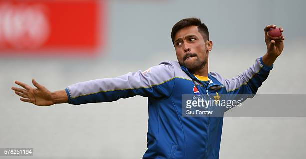 Pakistan bowler Mohammad Amir in action during Pakistan Nets ahead of the 2nd Investec test match against England at Old Trafford on July 21 2016 in...