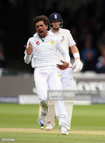 Pakistan bowler Mohammad Amir reacts after a second catch is dropped off Alastair Cook during day two of the 1st Investec Test match between England...