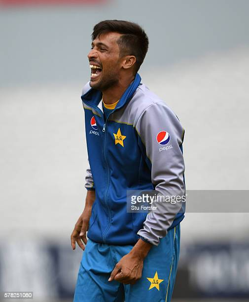 Pakistan bowler Mohammad Amir reacts during Pakistan Nets ahead of the 2nd Investec test match against England at Old Trafford on July 21 2016 in...