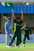 Pakistan bowler Mohammad Sami appeals for the wicket of Sourav Ganguly of India during the ICC Champions Trophy match between India and Pakistan...