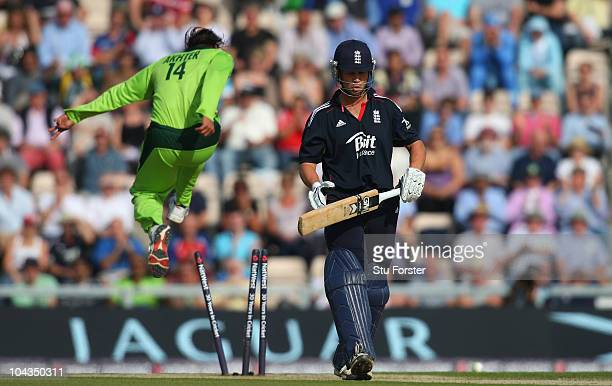 Pakistan bowler Shoaib Akhtar celebrates after bowling England batsman Jonathan Trott during the 5th NatWest ODI between England and Pakistan at The...