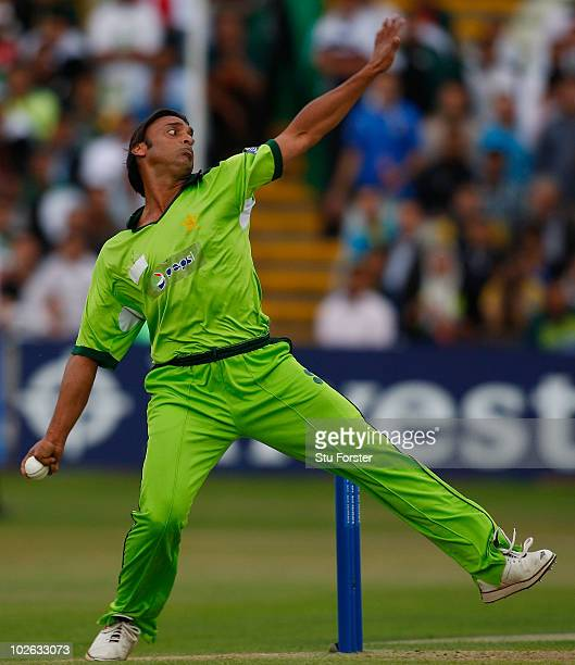 Pakistan bowler Shoaib Akthar in action during the 1st Twenty20 International between Pakistan and Australia at Edgbaston on July 5 2010 in...