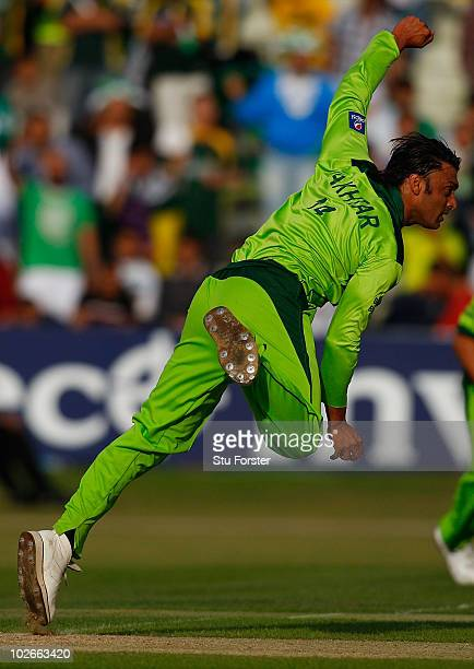 Pakistan bowler Shoaib Akthar in action during the 2nd Twenty20 International match between Pakistan and Australia at Edgbaston on July 6 2010 in...