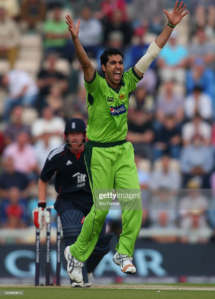 Pakistan bowler Umar Gul appeals in vain for the wicket of England batsman Paul Collingwood during the 5th NatWest ODI between England and Pakistan at The Rose Bowl on September 22, 2010 in Southampton, England.
