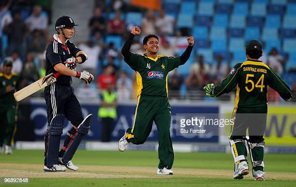 Pakistan bowler Yasir Arafat celebrates after bowling England batsman Joe Denly during the 2nd World Call T20 Challenge match between Pakistan and...