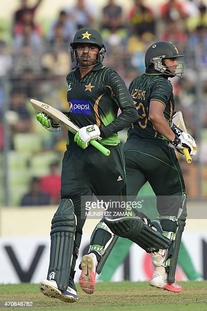 Pakistan captain Azhar Ali and Haris Sohail run between the wickets during the third One Day International cricket match between Bangladesh and...
