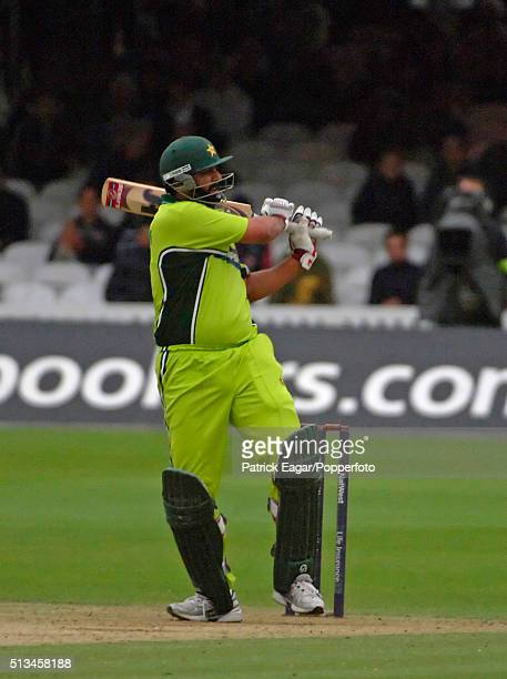 Pakistan captain InzamamulHaq batting during his 42 not out in the NatWest Series One Day International between England and Pakistan Lord's London...