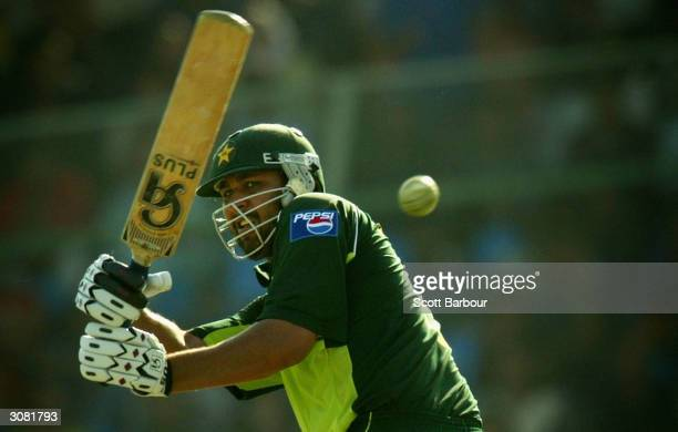 Pakistan captain InzamamulHaq hits the ball to the boundary during jis innings of 122 during the first Pakistan v India one day international match...