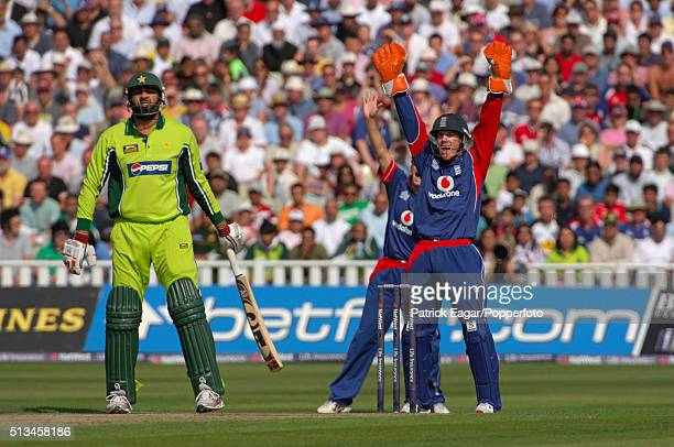 Pakistan captain InzamamulHaq is out lbw during the NatWest Series One Day International between England and Pakistan at Edgbaston Birmingham 10th...