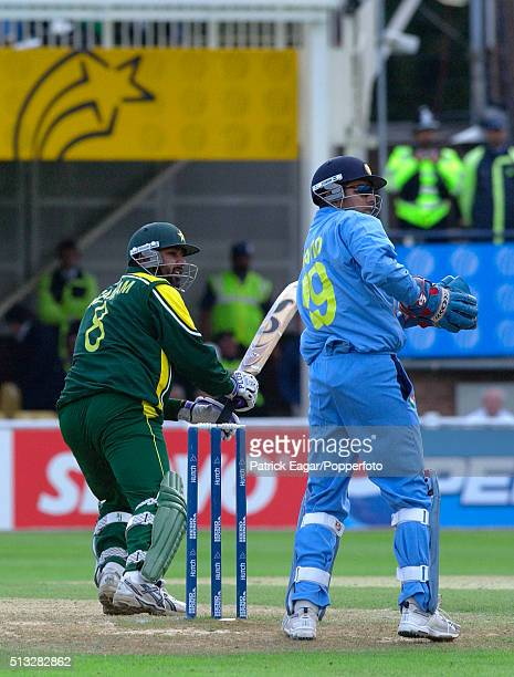 Pakistan captain InzamamulHaq scores his 10000th run in One Day Internationals during the ICC Champions Trophy match between India and Pakistan...