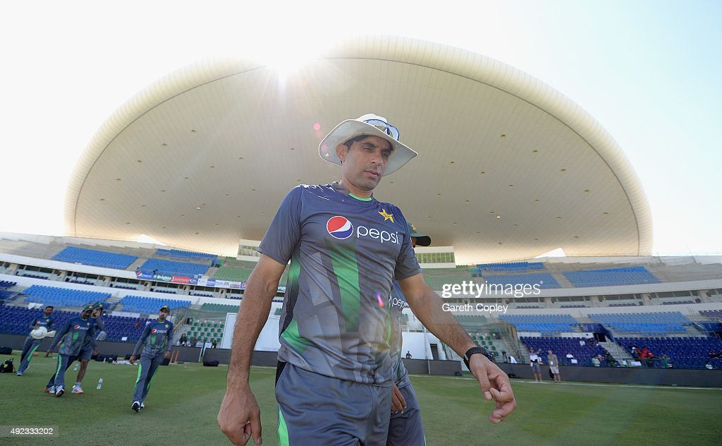 Pakistan captain <a gi-track='captionPersonalityLinkClicked' href=/galleries/search?phrase=Misbah-ul-Haq&family=editorial&specificpeople=2180557 ng-click='$event.stopPropagation()'>Misbah-ul-Haq</a> arrives ahead of a nets session at Zayed Cricket Stadium on October 12, 2015 in Abu Dhabi, United Arab Emirates.