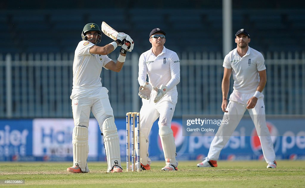 Pakistan captain <a gi-track='captionPersonalityLinkClicked' href=/galleries/search?phrase=Misbah-ul-Haq&family=editorial&specificpeople=2180557 ng-click='$event.stopPropagation()'>Misbah-ul-Haq</a> bats during day one of the 3rd Test between Pakistan and England at Sharjah Cricket Stadium on November 1, 2015 in Sharjah, United Arab Emirates.