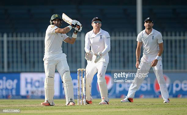 Pakistan captain MisbahulHaq bats during day one of the 3rd Test between Pakistan and England at Sharjah Cricket Stadium on November 1 2015 in...