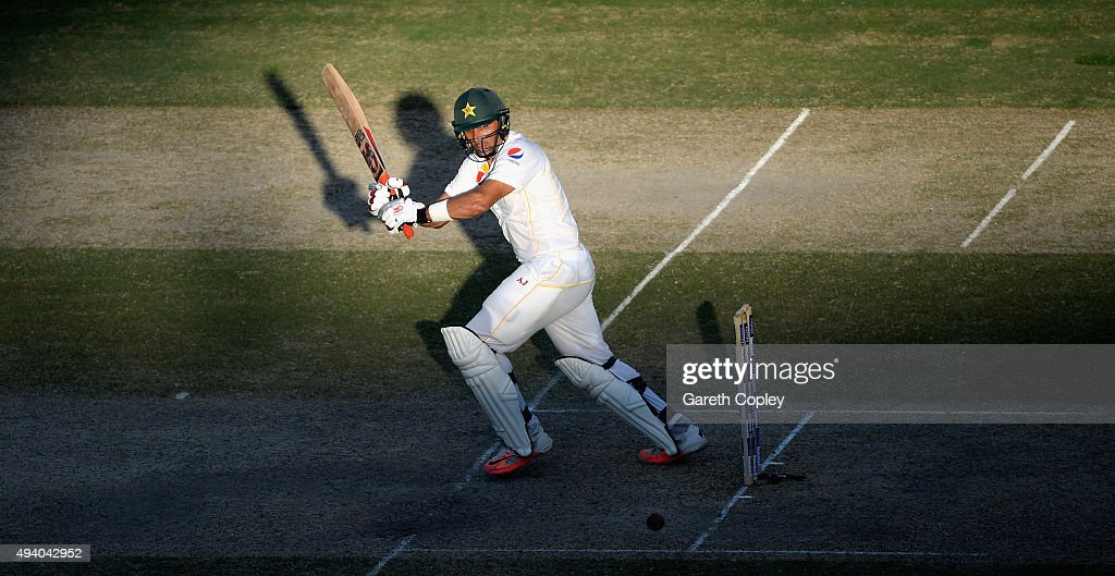 Pakistan captain <a gi-track='captionPersonalityLinkClicked' href=/galleries/search?phrase=Misbah-ul-Haq&family=editorial&specificpeople=2180557 ng-click='$event.stopPropagation()'>Misbah-ul-Haq</a> bats during day three of the 2nd test match between Pakistan and England at Dubai Cricket Stadium on October 24, 2015 in Dubai, United Arab Emirates.