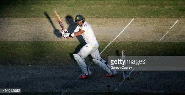 Pakistan captain MisbahulHaq bats during day three of the 2nd test match between Pakistan and England at Dubai Cricket Stadium on October 24 2015 in...