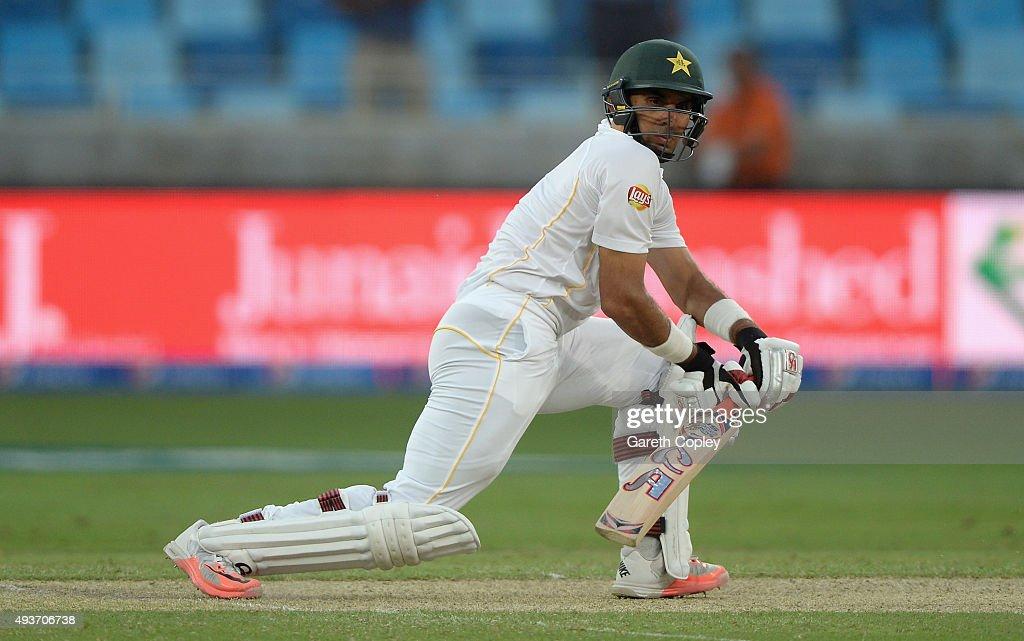 Pakistan captain Misbah-ul-Haq bats during the 2nd test match between Pakistan and England at Dubai Cricket Stadium on October 22, 2015 in Dubai, United Arab Emirates.