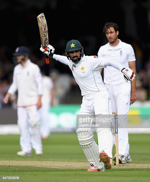 Pakistan captain MisbahulHaq celebrates reaching hius century during the 1st Investec Test between England and Pakistan at Lord's Cricket Ground on...