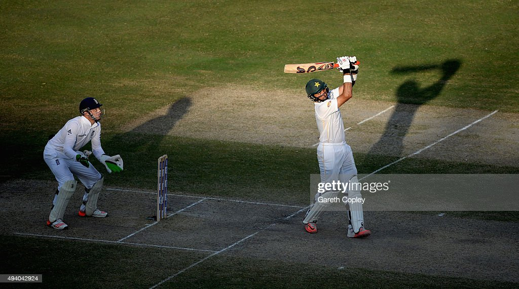 Pakistan captain <a gi-track='captionPersonalityLinkClicked' href=/galleries/search?phrase=Misbah-ul-Haq&family=editorial&specificpeople=2180557 ng-click='$event.stopPropagation()'>Misbah-ul-Haq</a> hits out for six runs during day three of the 2nd test match between Pakistan and England at Dubai Cricket Stadium on October 24, 2015 in Dubai, United Arab Emirates.