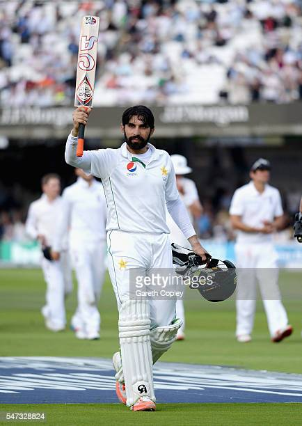 Pakistan captain MisbahulHaq salutes the crowd as he leaves the field at stumps on day one of the 1st Investec Test between England and Pakistan at...