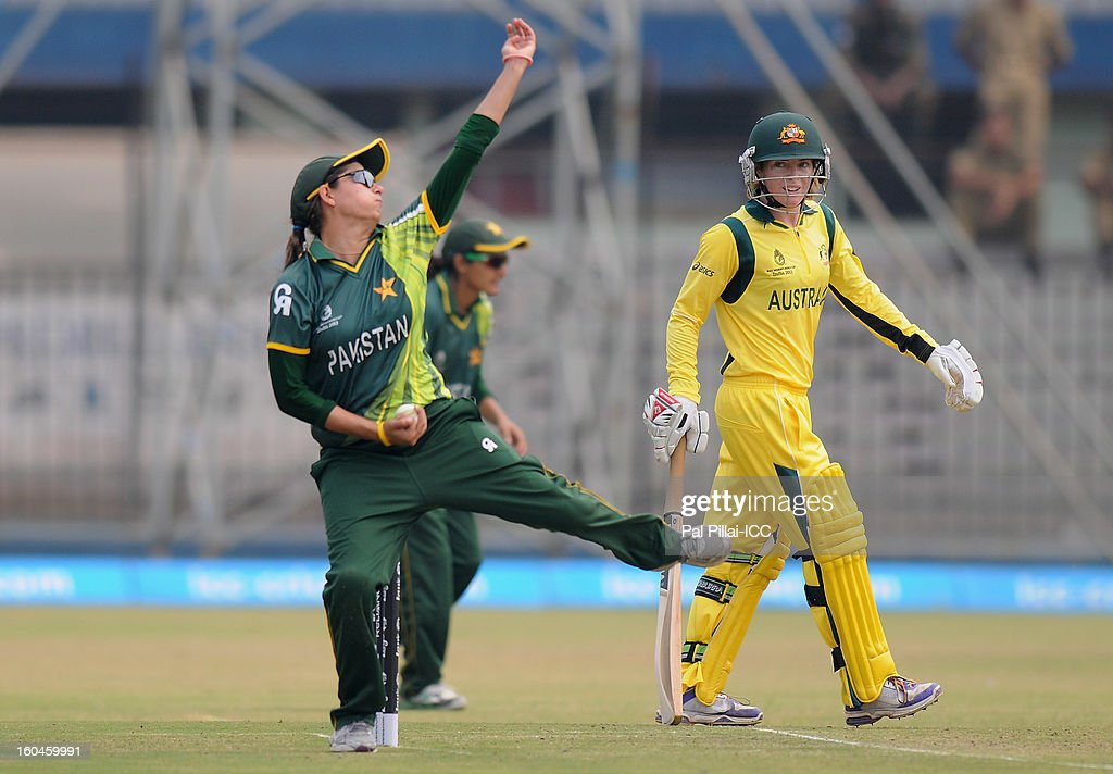 Pakistan captain Sana Mir bowls during the second match of ICC Womens World Cup between Australia and Pakistan, played at the Barabati stadium on February 1, 2013 in Cuttack, India.