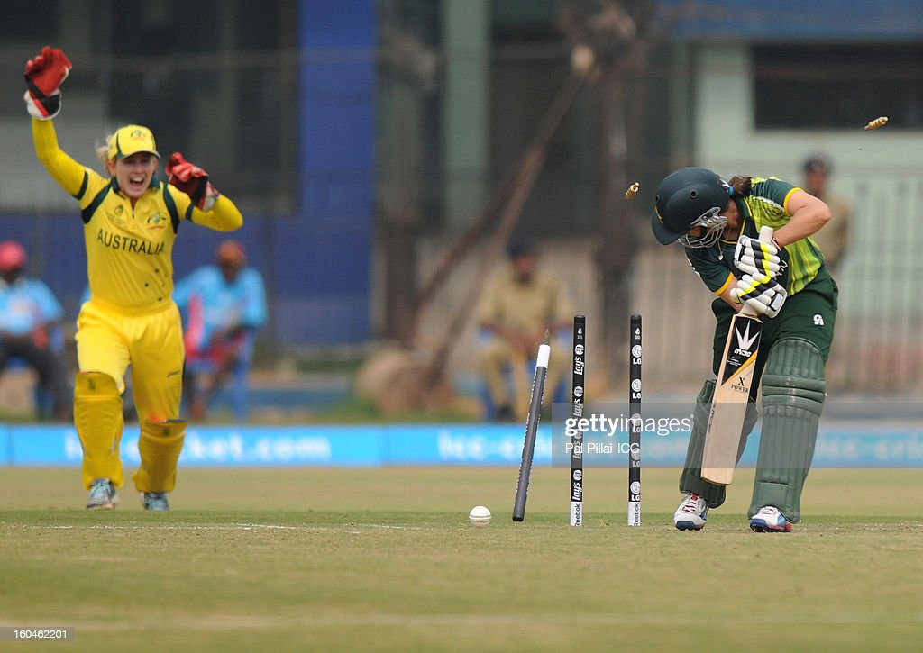 Pakistan captain Sana Mir is bowled out by Megan Schutt of Australia during the second match of ICC Womens World Cup between Australia and Pakistan, played at the Barabati stadium on February 1, 2013 in Cuttack, India.