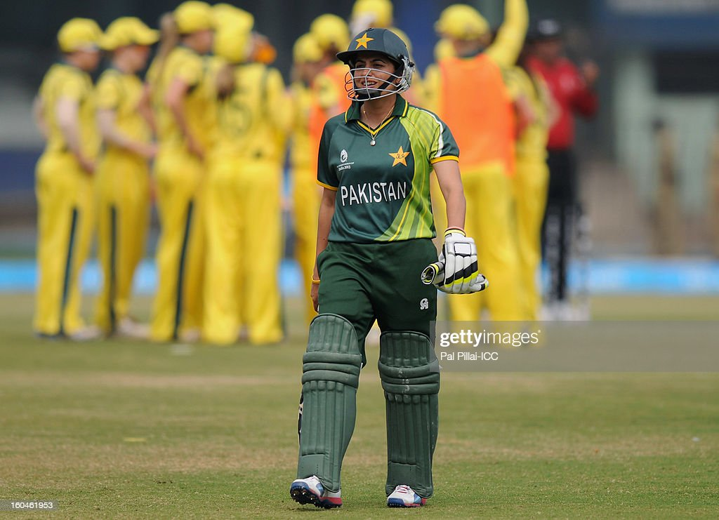 Pakistan captain Sana Mir walks back after getting out during the second match of ICC Womens World Cup between Australia and Pakistan, played at the Barabati stadium on February 1, 2013 in Cuttack, India.