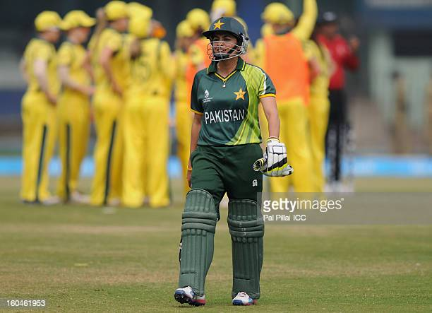 Pakistan captain Sana Mir walks back after getting out during the second match of ICC Womens World Cup between Australia and Pakistan played at the...