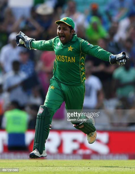 Pakistan captain Sarfraz Ahmed after winning the ICC Champions Trophy Final between India and Pakistan at The Kia Oval on June 18 2017 in London...
