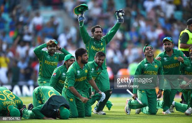 Pakistan captain Sarfraz Ahmed celebrates after praying with teammates after winning the ICC Champions Trophy Final between India and Pakistan at The...