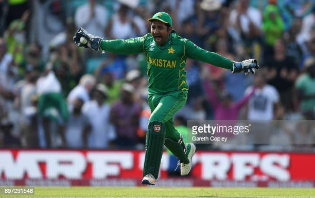 Pakistan captain Sarfraz Ahmed celebrates after winning the ICC Champions Trophy Final between India and Pakistan at The Kia Oval on June 18 2017 in...