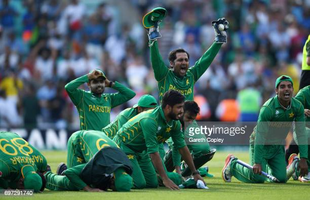 Pakistan captain Sarfraz Ahmed celebrates with a prayer after winning the ICC Champions Trophy Final between India and Pakistan at The Kia Oval on...