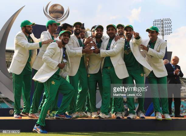 Pakistan celebrate after beating India during the ICC Champions Trophy Final between Pakistan and India at The Kia Oval on June 18 2017 in London...