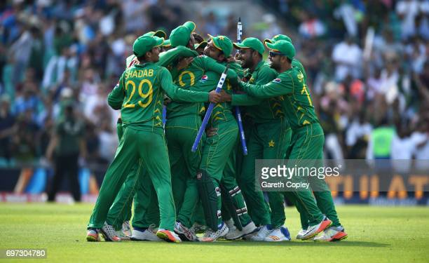 Pakistan celebrate after winning the ICC Champions Trophy Final between India and Pakistan at The Kia Oval on June 18 2017 in London England