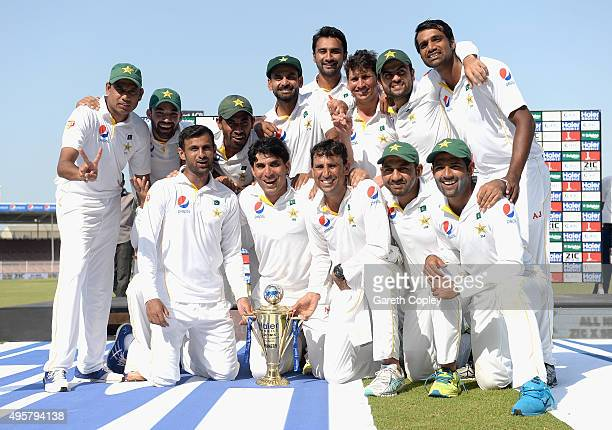 Pakistan celebrate winning the 3rd Test between Pakistan and England at Sharjah Cricket Stadium on November 5 2015 in Sharjah United Arab Emirates