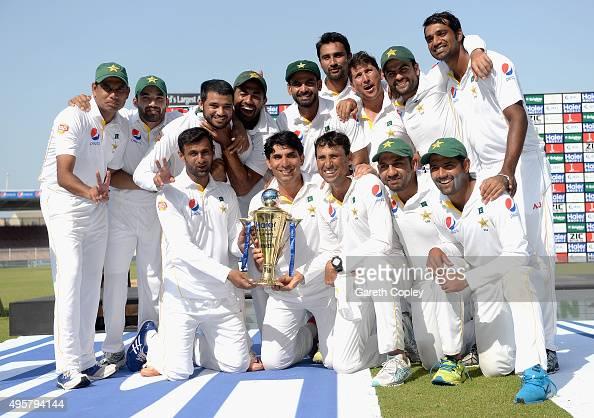 Pakistan celebrate winning the 3rd Test between Pakistan and England at Sharjah Cricket Stadium on November 5 2015 in Sharjah United Arab Emirates