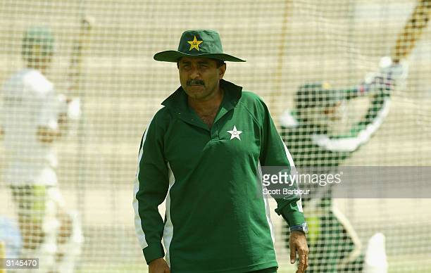 Pakistan coach Javed Miandad looks on during his teams training session before the first test match between Pakistan and India on March 27 2004 in...