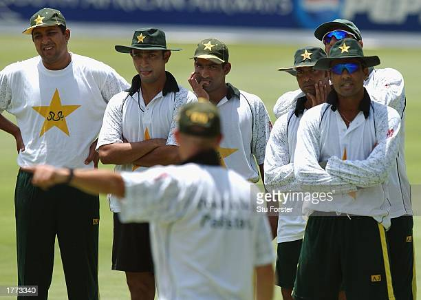 Pakistan Coach Richard Pybus points the way to the Pakistan team during the Pakistan Net session at The Wanderers Johannesburg South Africa February...