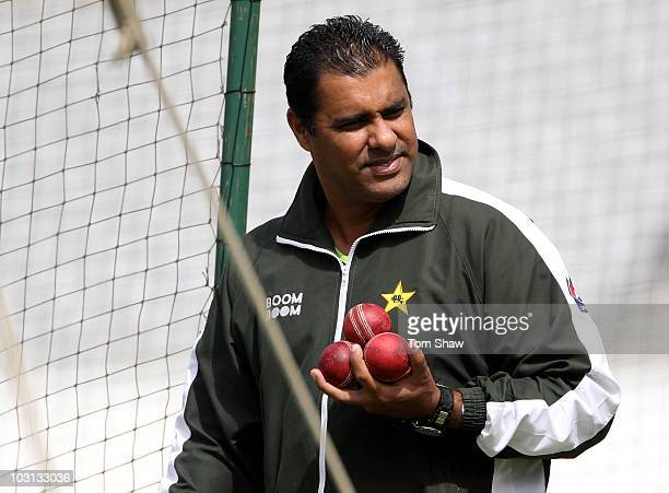 Pakistan coach Waqar Younis looks on during the Pakistan nets session at Trent Bridge on July 28 2010 in Nottingham England