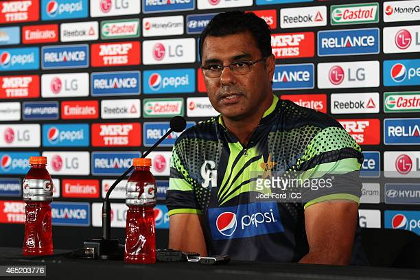 Pakistan coach Waqar Younis speaks at a press conference after the 2015 ICC Cricket World Cup match between Pakistan and the United Arab Emirates at...